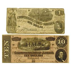 C.S.A., 1862 and 1864 Confederate Banknote Pair.