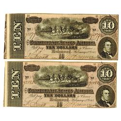 C.S.A., 1864 Lot of 2 $10 Notes T-68, Both AU to Choice AU and Sequential Serial Numbers.