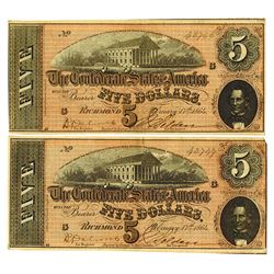 C.S.A., 1864 Lot of 2 $5 Notes T-69, Both AU to Choice AU and Sequential Serial Numbers.