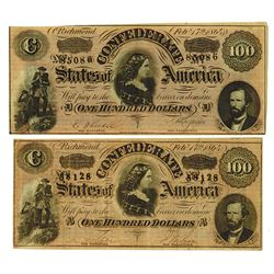 C.S.A., 1864 Lot of 2 $50 Notes T-65 Banknote Pair.