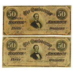 C.S.A., 1864 Lot of 2 $50 Notes T-66, Both are Choice VF to XF.