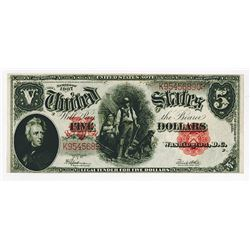 "U.S. Legal Tender, $5, Series of 1907 ""Woodchopper"" Fr#91 Speelman-White Sigs."