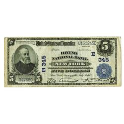 Irving National Bank, New York, $5, Series of 1902 Plain Back, KL#1159, Ch#E 345.