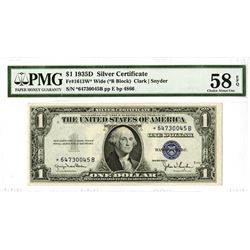 U.S. Silver Certificate, $1 Series of 1935 D, Fr#1613W*, Wide (*B Block), Clark | Snyder Signatures.