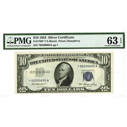 U.S. Silver Certificate, $10 Series of 1953, Fr#1706*, Wide (*A Block), Priest | Humphrey Signatures
