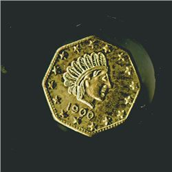 "Alaska Gold ""1/2"" 1900 Octagon Gold Token, Uncirculated to CU."