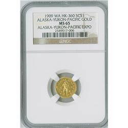Alaska-Yukon-Pacific Gold, 1909 WA HK-360,Alaska-Yukon-Pacific Expo, NGC graded MS65