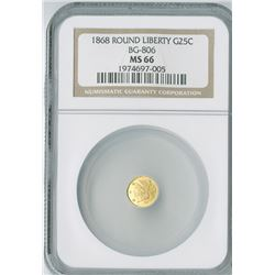 California  Fractional Round Liberty 25c 1868, gold, NGC graded MS66