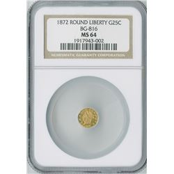 California Fractional 25c 1872, Round Liberty gold, NGC graded MS64