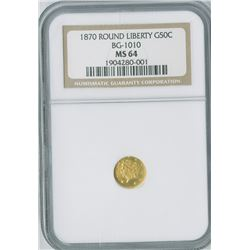 California Fractional 50c 1870, Round liberty gold, BG-1010, NGC graded MS64