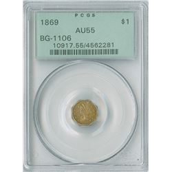 California Fractional Gold Token $1 1869,  gold PCGS graded AU55.