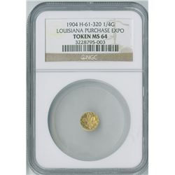 "Montana 25c, 1914  gold Token, ""Hart's Coins of the West"", NGC graded MS65."