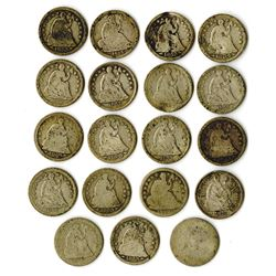 Large Assortment of Circulated Liberty Seated Half Dimes.