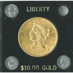 Liberty $10, 1905,  Eagle Reverse, gold, Unc.