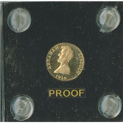 Lincoln  A Token ,  1939,  /27 Rev. gold  Proof