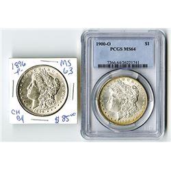 U.S. Silver Dollars, 1896-P, Choice XF-AU and 1900-O, PCGS graded MS64.