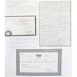 Autograph letter Duke of Wellington & Funeral and State Cards, ca.1840-1857.