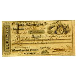 Bank of Louisiana, 1853 Second Check Duplicate