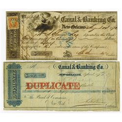 Canal & Banking Co., 1857 & 1871 Issued Check and CD.
