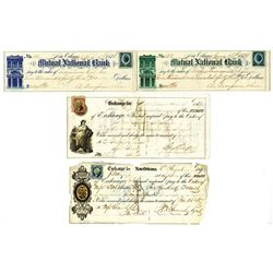Mutual National Bank & Others, 1860s-1870s, Group of 7 Checks & Exchanges