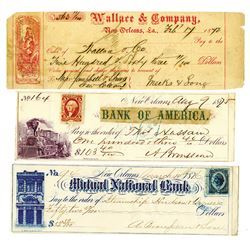 New Orleans Trio of 1870s Checks, Issued & Paid