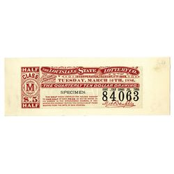Louisiana State Lottery Co., 1886 Specimen Trial Color Lottery Ticket from Hamilton BNC.