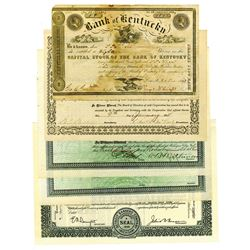 Assortment of Banking Stock Certificates, ca.1850-1960 Issued Stock Certificates, 5 Pieces