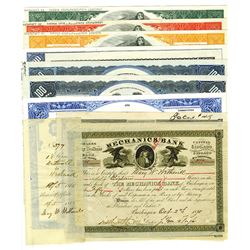 Group of Various Banking Related Stock and Bond Certificates, ca.1880-2003