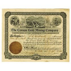 Corson Gold Mining Co. of Alaska, 1902 Issued Stock Certificate.