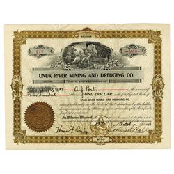 Unuk River Mining and Dredging Co. 1908 Stock Certificate.