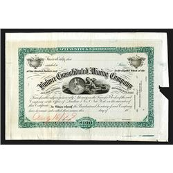 Bodie Mining District - Bulwer Consolidated Mining Co. 1879 Proof Stock Certificate.