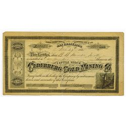 Cederberg Gold Mining Co., 1875 Issued Stock Certificate.