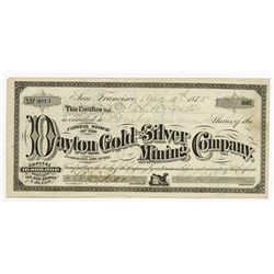 Dayton Gold and Silver Mining Co., 1875 Issued Stock Certificate.