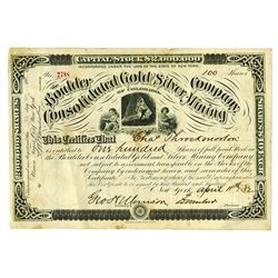 Boulder Consolidated Gold and Silver Mining Co., 1882 Issued Stock Certificate
