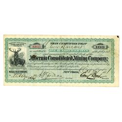 Hibernia Consolidated Mining Co., 1881 Issued Stock Certificate