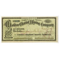 Golden Chariot Mining Co., 1875 Issued Stock Certificate.