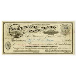 Cosmopolitan Mining Co., 1875 Issued stock Certificate.
