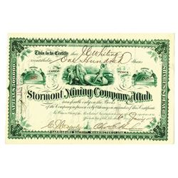 "Stormont Mining Co. of Utah, 1887 Issued Stock Certificate ""Coin Vignette"""