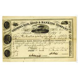 Georgia Rail Road & Banking Co., 1853 Issued Stock Certificate.