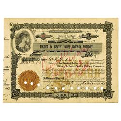 Elkhorn & Beaver Valley Railway Co., 1913 Issued Stock Certificate