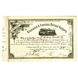 Kinniconick & Freestone Railroad Co., 1891 Issued Stock Certificate