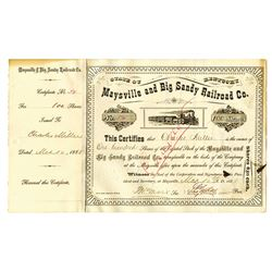 Maysville and Big Sandy Railroad Co., 1888 Issued Stock Certificate