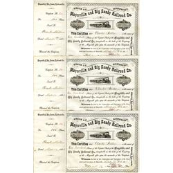 Maysville and Big Sandy Railroad Co., 1888 Issued Trio of Stock Certificate