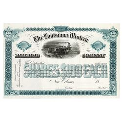Louisiana Western Railroad Co., 1883 Unique Approval Proof Stock Certificate.