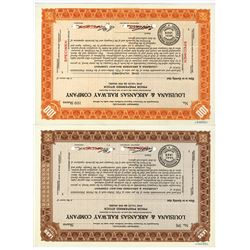 Louisiana & Arkansas Railway Co., ca.1928 Specimen Stock Certificate Pair.