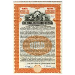 Rock Island, Arkansas and Louisiana Railroad Co., 1910 Specimen Gold Coupon Bond.