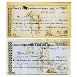 Baltimore & Ohio Rail Road Co., 1855 Issued Pair of Stock Certificate