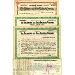 Baltimore & Ohio Rail Road Co., ca.1890-1906 Group of Issued Stock Certificate