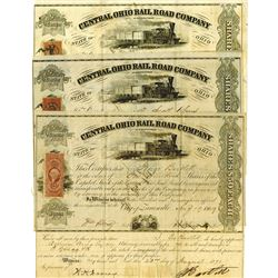 Central Ohio Rail Road Co. As Reorganized, 1868-1869 Issued Stock Certificate