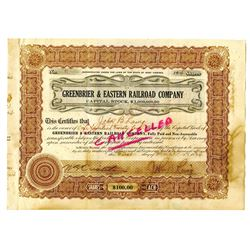 Greenbrier & Eastern Railroad Co., 1924 Issued Stock Certificate